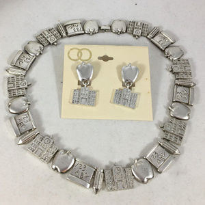 Teacher Necklace & Earring Set  NEW silver /gold